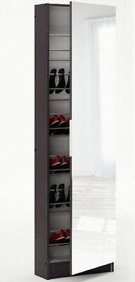 Black Mirror Shoe Cabinet Storage Cupboard Container Full Length 20 Pairs Modern