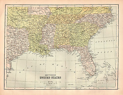 states map southern united america usa 1880 Antique Large