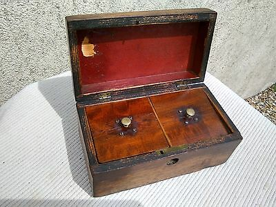 Antique Wooden Tea Caddy / Box
