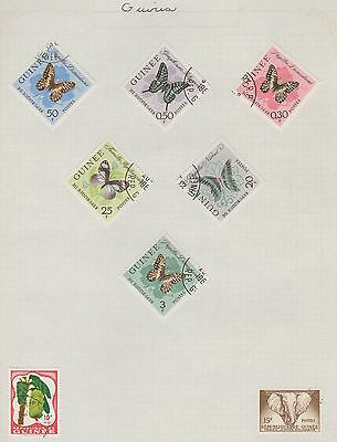 GUINEA Butterflies etc  on Old Book Pages,As Per Scan, Removed to Send #