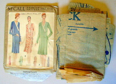RARE VTG ANTIQUE 1920s 1928 DRESS McCALL #5667 SEWING PATTERN Size 38