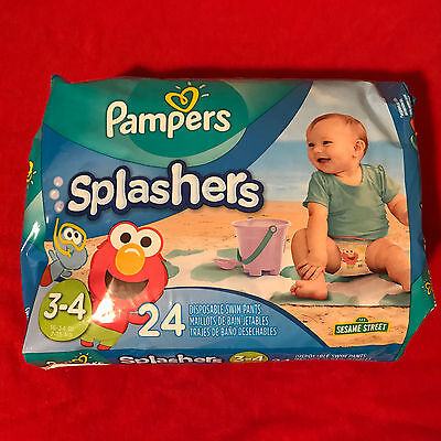 Pampers Splashers ELMO Disposable Swim Diapers 24 Count Size 3-4 16-34 lb