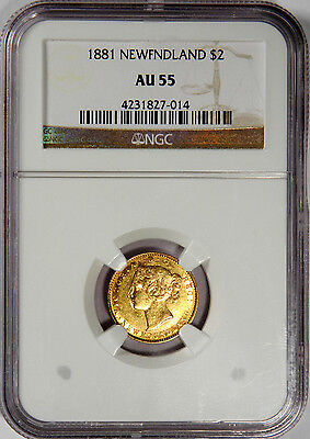 1881 Newfoundland Gold $2 Queen Victoria Ngc Au55 - Priced Right!