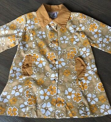 OOAK Vtg 60s SUPER Mod Floral FLOWER POWER Brown+Orange Girls Jacket