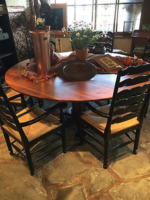 CUSTOM MADE CHERRY DINING TABLE with 8 CHAIRS (6 pictured)