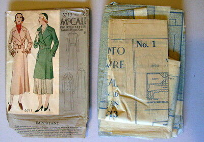 RARE VTG ANTIQUE 1920s 1930s 1931 Coat McCALL #6713 SEWING PATTERN Size 16 yr