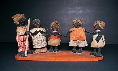 Antique Gullah Geechee Little Black Sambo dolls includes all 5 Family members