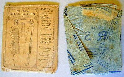 RARE VTG ANTIQUE 1920s 1921 Apron McCALL #4343 SEWING PATTERN Size 16