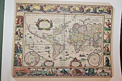 Set of 2 VTG HOFFMAN LA ROCHE MAPS OF THE WORLD ORTELIUS & BLAEU CIRCA 1940-50