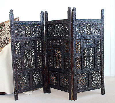 Vintage Intricately Carved Teak 3 Panel Folding Screen