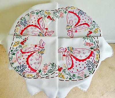 Vintage Embroidered Table Cloth Crinoline Lady In The Garden