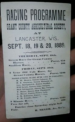 Grant County Agricultural Society Fair Racing Program Postcard 1889 Lancaster WI