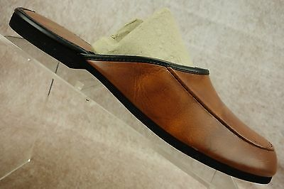 Evans Hampshire Brown Leather Moc Toe Scuffs Slippers Slides Shoes Mens 9 M