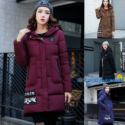 Women's Quilted Cotton Down Long Jacket Hooded Parka Winter Coat Jacket Winter