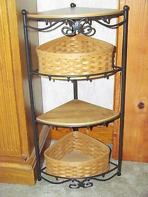 Longaberger Wrought Iron CORNER STAND with 2 shelves and 2 baskets