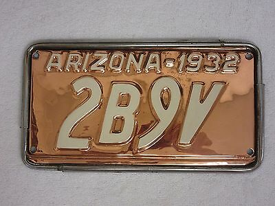 1932 Arizona Copper License Plate w/Frame   (F17)
