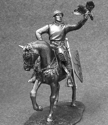 Action Figures Cavalry Mounted 1/32 Knight with Falcon Toy Tin Soldier 54mm