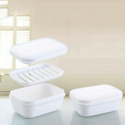Drain Layer Travel Soap Box with Lid Seal Leak-proof Dish Portable Case Holder
