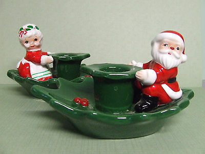 Vintage Lefton Santa & Mrs. Claus Sitting on Holly Candle Holders