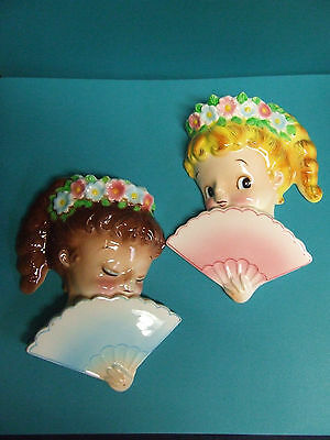 Vintage Lefton Girls w/Flowers & Fans Wall Pockets (ESD/Japan/#PY22335)