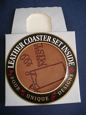 4 Canadian Mist Leather Coasters Different Design on Each OP
