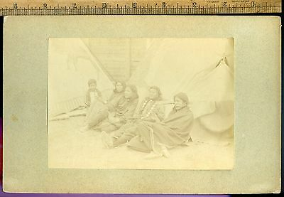 Group Of American Indians By Tepee 1880's Albumen Photograph By Roland Bonapart