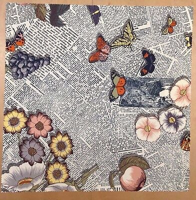 """Fornasetti cotton fabric """"Ultime notizie"""" newspaper butterfly by FDD"""