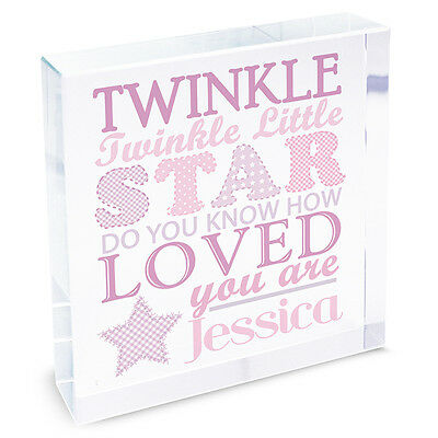 Personalised Twinkle Girls Large Crystal Token Baby Birthday Gift