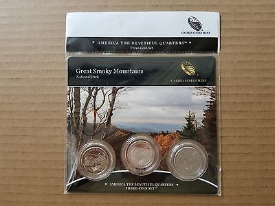 2014 America The Beautiful Great Smoky Mountains National Park 3 Coin Set - Rare