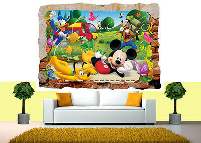 Mickey Mouse Club House 3d Smashed Wall Sticker Poster Vinyl Mural Art 27