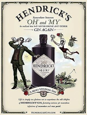 Hendricks Gin, Retro Vintage Metal Sign, Bar/Pub, Kitchen, Alcohol