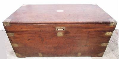 Stunning Large  Antique 19 th C  Solid Camphor Wood Military Trunk