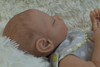 """Reborn Baby Girl doll """"Gus"""" by Tina Kewy full limbs and full soft body"""