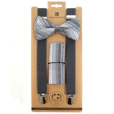 3pc Men's Charcoal Banded Suspenders, Stripes Bow Tie and Hanky Sets