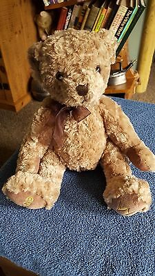 "Russ Berrie Soft Silky 2009 Teddy Bear W Soft Plush Stuffed Toy 13"" Free Uk P&p"