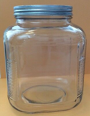 Vintage Large Octagon Glass Jar W/Unpainted Metal Lid
