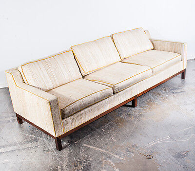 Mid Century Modern Sofa Couch Florence Knoll Breuner's Vintage Danish White MCM