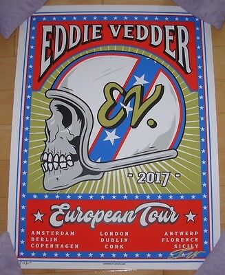 EDDIE VEDDER pearl jam concert gig poster print EUROPE 2017 TOUR Ian Williams