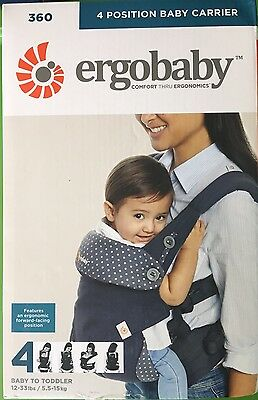 NIB Ergobaby Four Position 360 Baby Carrier  Dusty Blue; MONEY BACK GUARANTEE