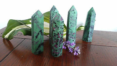 """Ruby in Zoisite natural crystal healing point red green Tanzania 3"""" gemstone"""