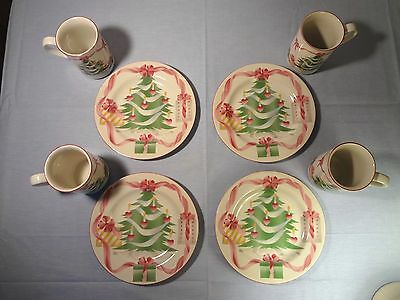 SANGO Home for Christmas Dishes 4 Bread/Dessert Plates 4 Coffee Mugs Pink Hearts