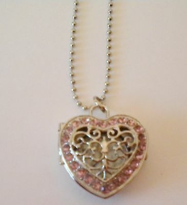 Girls/ladies Pink & Silver Heart Shaped Necklace Locket Watch On A Long Chain