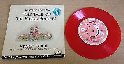 "BEATRIX POTTER 'The Tale of The Flopsy Bunnies' RED VINYL 7"" Vivien Leigh HMV"