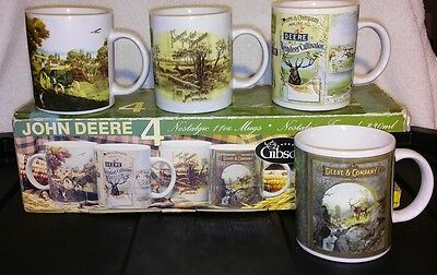 John Deere Coffee Mugs Set Of 4 Licensed New Collectibles Gibson Farm Tractor