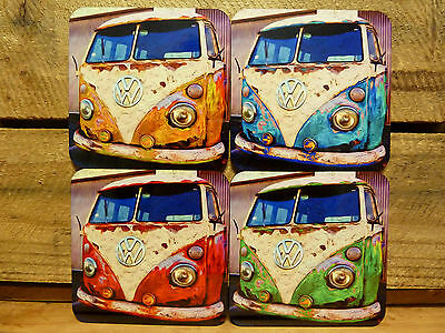 Set Of Four Coasters - Vw Kombi Van