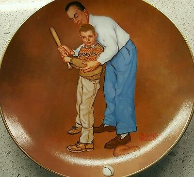 Norman Rockwell decorative numbered plate HOME RUN SLUGGER, Baseball, Dad