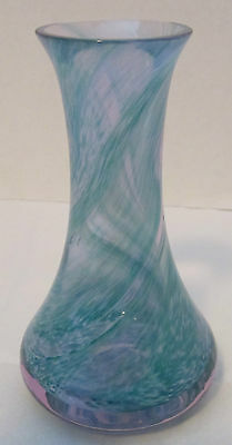 Glass Vase Blue-Green and White Swirl Heavy Crystal - Scotland - Caithness