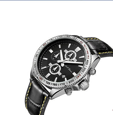 Mens New Stainless Steel Chronograph Watch Silver Tw Black Leather Speedmaster