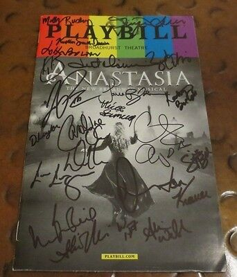 Anastasia New Musical Broadway Play Playbill current cast signed autographed