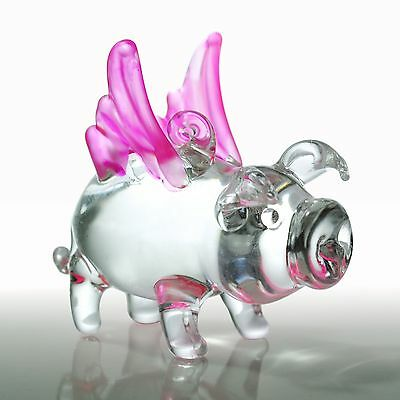 Flying Pig Figurine With Wings Pink Frost White Glass Blown Hog Crystal Castle